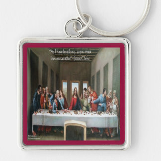 "Jesus @ Last Supper ""Love One Another"" Quote Keychain"