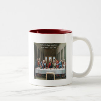 """Jesus @ Last Supper """"Love One Another"""" Quote Two-Tone Coffee Mug"""