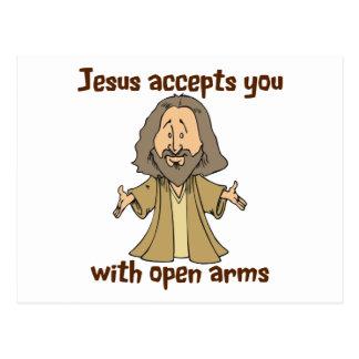Jesús le acepta con los brazos abiertos postal