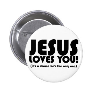 Jesús le ama botón pin redondo de 2 pulgadas