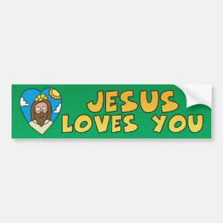 Jesús le ama etiqueta de parachoque