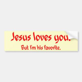 Jesús le ama pegatina de parachoque