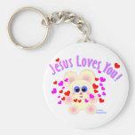 Jesús le ama diseño del oso de peluche llavero personalizado