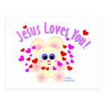 Jesús le ama diseño del oso de peluche tarjetas postales