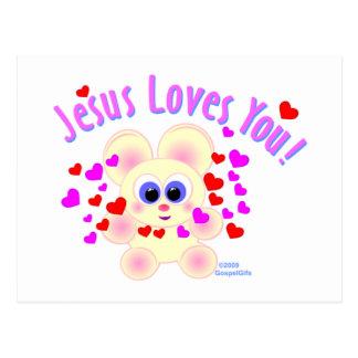 Jesús le ama diseño del oso de peluche postal