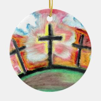 Jesús le ama (el ornamento del árbol de Cristmas) Adorno Navideño Redondo De Cerámica