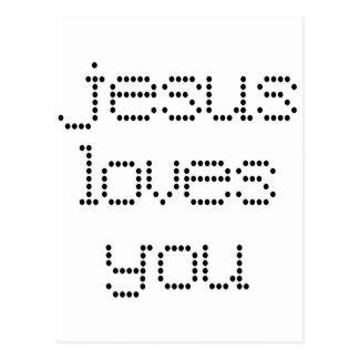 Jesús le ama en Polkadots negro Postal