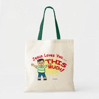 Jesús le ama este diseño mucho cristiano del regal bolsa lienzo
