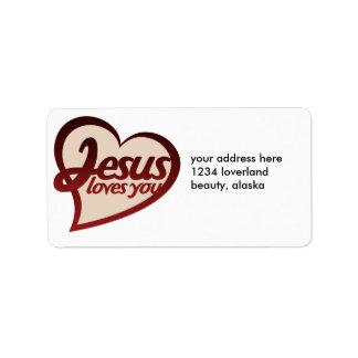 Jesús le ama etiquetas de dirección