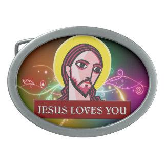 JESÚS LE AMA HEBILLA CINTURÓN OVAL