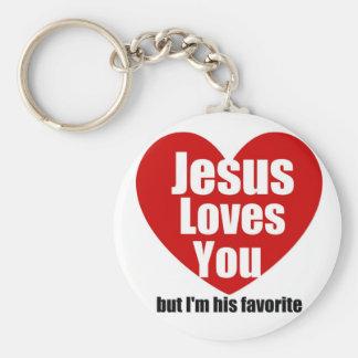 Jesús le ama llavero redondo tipo pin