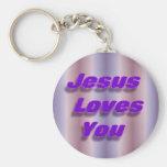 Jesús le ama llaveros personalizados