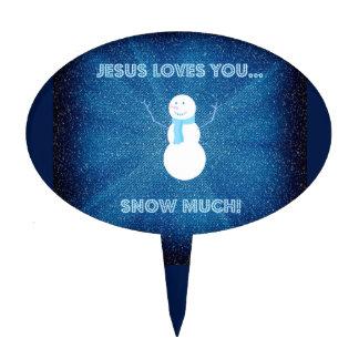 ¡Jesús le ama nieva mucho! Azul cristiano del Decoración De Tarta