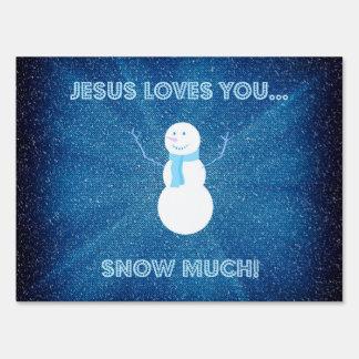 ¡Jesús le ama nieva mucho! Azul cristiano del Letreros
