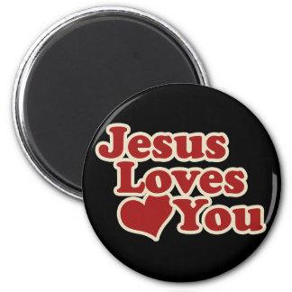 Jesús le ama para los cristianos imán redondo 5 cm