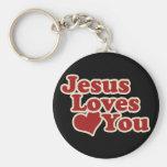 Jesús le ama para los cristianos llavero redondo tipo pin
