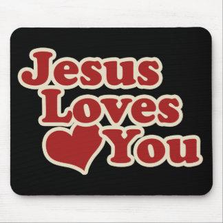 Jesús le ama para los cristianos mousepads