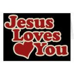 Jesús le ama para los cristianos tarjeta de felicitación