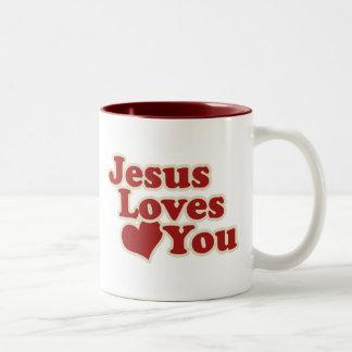 Jesús le ama para los cristianos taza de dos tonos