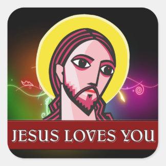 JESÚS LE AMA PEGATINA CUADRADAS PERSONALIZADA