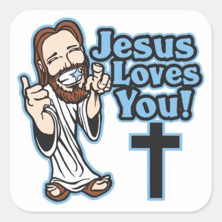 Jesús le ama pegatina cuadrada