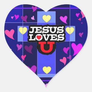JESÚS LE AMA PEGATINA EN FORMA DE CORAZÓN