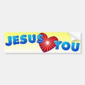 Jesús le ama pegatina para auto