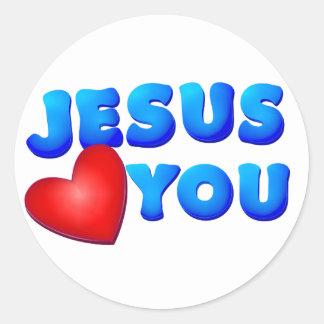Jesús le ama pegatina redonda