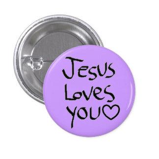 Jesús le ama pin redondo de 1 pulgada