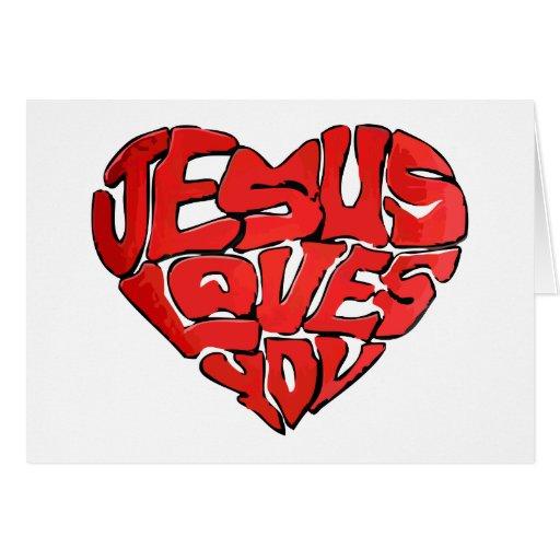 Jesús le ama tarjeta de felicitación