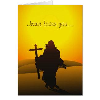 Jesús le ama tarjeta de pascua de la escritura tarjeta de felicitación