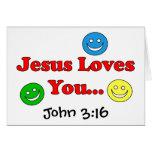 Jesús le ama - tarjeta del 3:16 de Juan