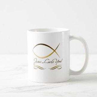 Jesús le ama taza básica blanca