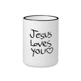 Jesús le ama taza