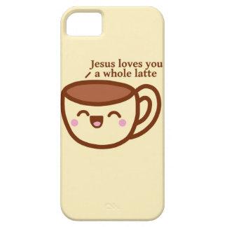 Jesús le ama un caso entero de Iphone del latte iPhone 5 Carcasa