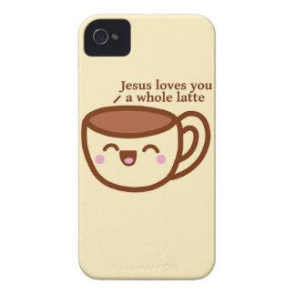 Jesús le ama un caso entero de Latte Blackberry iPhone 4 Protector