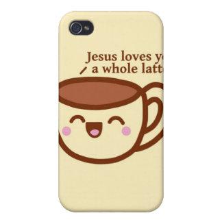 Jesús le ama un caso entero de Latte Iphone iPhone 4/4S Carcasa