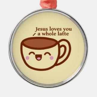 Jesús le ama un latte entero Ordament Adorno Navideño Redondo De Metal
