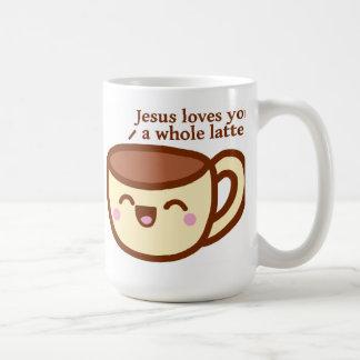 Jesús le ama una taza entera de Latte