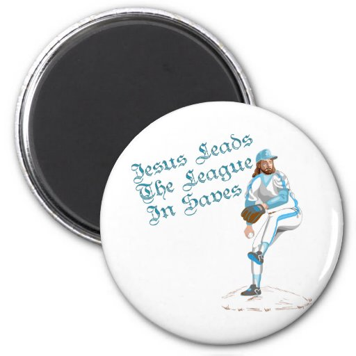 Jesus Leads The League In Saves 2 Inch Round Magnet