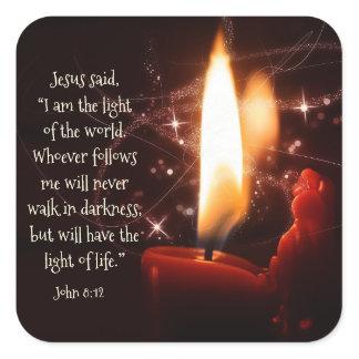 Jesus Light of the World Psalm 8, Bible, Christmas Square Sticker
