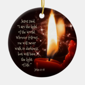 Jesus Light of the World Psalm 8, Custom Christmas Ceramic Ornament