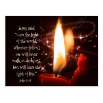 Jesus Light of the World Psalm 8, Custom Christmas Postcard