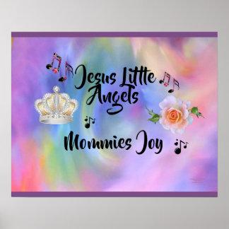 Jesus Little Angels Mommies Joy Purple Edges Poster