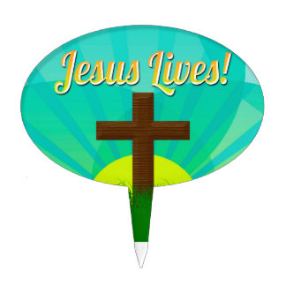 Jesus Lives Blue/Brown Christian Easter Cross Cake Topper