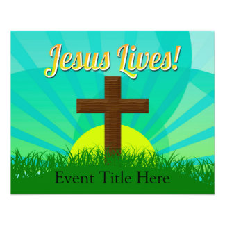 Jesus Lives Blue/Brown Christian Easter Cross Personalized Flyer