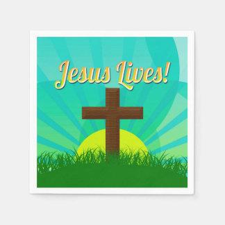 Jesus Lives Blue/Brown Christian Easter Cross Napkin