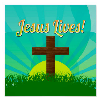 Jesus Lives Blue/Brown Christian Easter Cross Poster