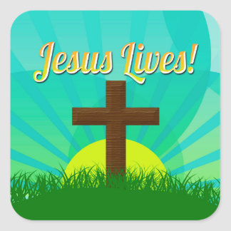 Jesus Lives Blue/Brown Christian Easter Cross Square Sticker