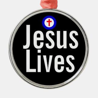 Jesus Lives Round Metal Christmas Ornament